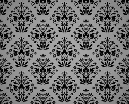 Floral pattern. Vintage wallpaper in the Baroque style. Seamless vector background. Black and gray ornament for fabric, wallpaper, packaging. Ornate Damask flower ornament Ilustrace