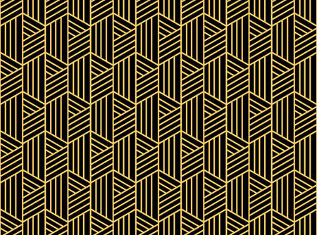 Abstract geometric pattern with stripes, lines. Seamless vector background. Gold and black ornament. Simple lattice graphic design Reklamní fotografie - 167126800