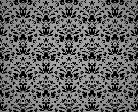 Wallpaper in the style of Baroque. Seamless vector background. Black and gray floral ornament. Graphic pattern for fabric, wallpaper, packaging. Ornate Damask flower ornament Ilustrace