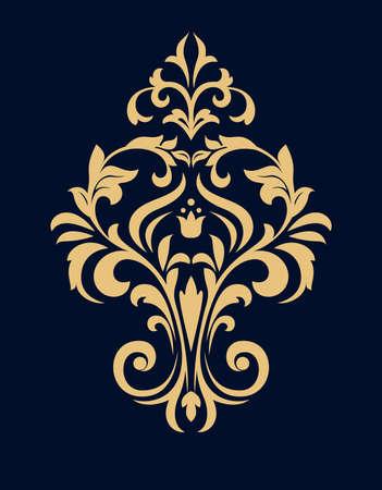 Damask graphic ornament. Floral design element. Dark blue and gold vector pattern Ilustrace