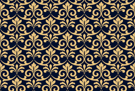 Flower geometric pattern. Seamless vector background. Gold and dark blue ornament Reklamní fotografie - 167229634