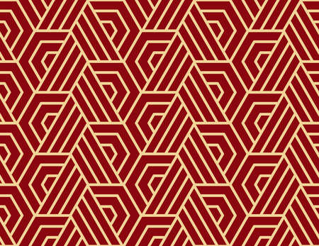 Abstract geometric pattern with stripes, lines. Seamless vector background. Gold and red ornament. Simple lattice graphic design