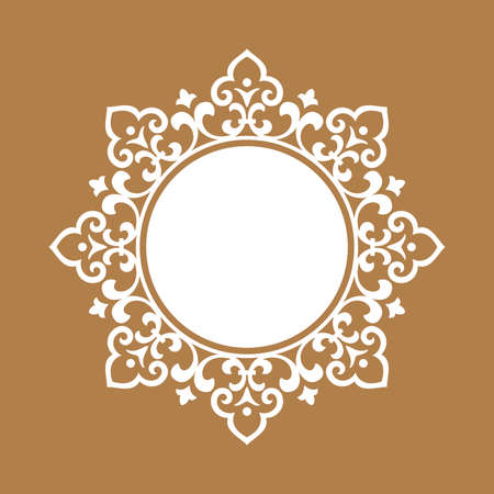 Decorative frame Elegant vector element for design in Eastern style, place for text. Floral beige and white border. Lace illustration for invitations and greeting cards Reklamní fotografie - 167229656