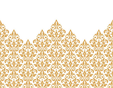 Floral pattern. Vintage wallpaper in the Baroque style. Modern vector background. White and gold ornament for fabric, wallpaper, packaging. Ornate Damask flower ornament  イラスト・ベクター素材