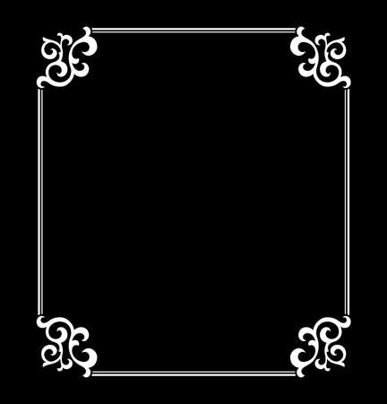 Decorative frame Elegant vector element for design in Eastern style, place for text. Floral black and white border. Lace illustration for invitations and greeting cards Stock Illustratie