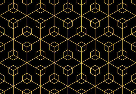 The geometric pattern with lines. Seamless vector background. Gold and black texture. Graphic modern pattern. Simple lattice graphic design 矢量图像