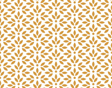 Flower geometric pattern. Seamless vector background. White and gold ornament Stock Illustratie