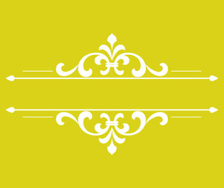 Vintage yellow and white element. Graphic vector design. Damask graphic ornament