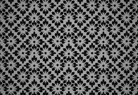 Flower geometric pattern. Seamless vector background. Black and gray ornament. Ornament for fabric, wallpaper, packaging. Decorative print