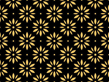 Flower geometric pattern. Seamless vector background. Gold and black ornament