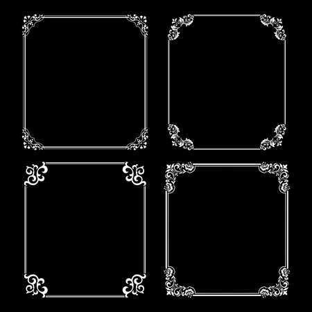Set of decorative frames Elegant vector element for design in Eastern style, place for text. Floral black and white borders. Lace illustration for invitations and greeting cards.