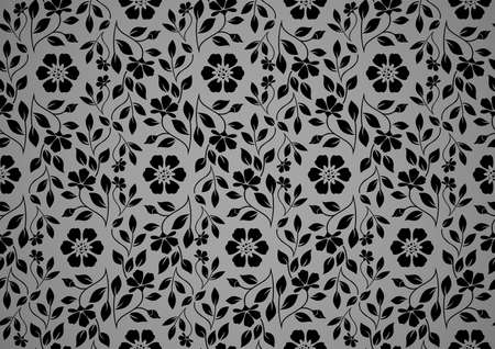 Flower pattern. Seamless black and gray ornament. Graphic vector background. Ornament for fabric, wallpaper, packaging