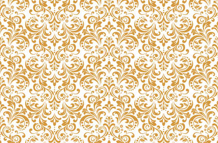 Wallpaper in the style of Baroque. Seamless vector background. White and gold floral ornament. Graphic pattern for fabric, wallpaper, packaging. Ornate Damask flower ornament Stock Illustratie