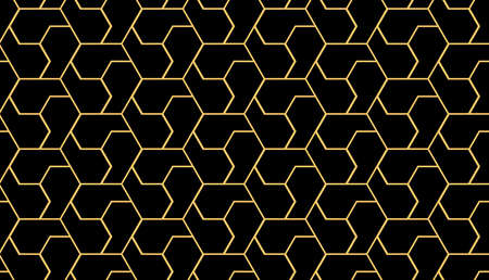 The geometric pattern with lines. Seamless vector background. Gold and black texture. Graphic modern pattern. Simple lattice graphic design Stock Illustratie