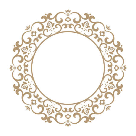 Decorative frame Elegant vector element for design in Eastern style, place for text. Floral golden and white border. Lace illustration for invitations and greeting cards. Stock Illustratie