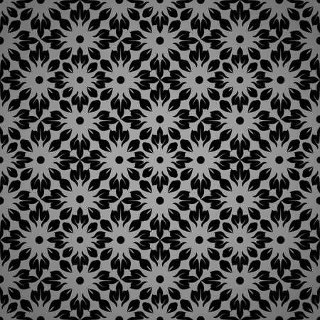 Flower geometric pattern. Seamless vector background. Black and gray ornament 矢量图像