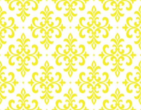 Wallpaper in the style of Baroque. Seamless vector background. White and yellow floral ornament. Graphic pattern for fabric, wallpaper, packaging. Ornate Damask flower ornament Foto de archivo - 168166707