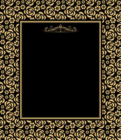 Decorative frame Elegant vector element for design in Eastern style, place for text. Floral golden and black border. Lace illustration for invitations and greeting cards