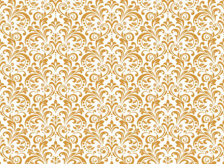 Wallpaper in the style of Baroque. Seamless vector background. White and gold floral ornament. Graphic pattern for fabric, wallpaper, packaging. Ornate Damask flower ornament Foto de archivo - 168166889