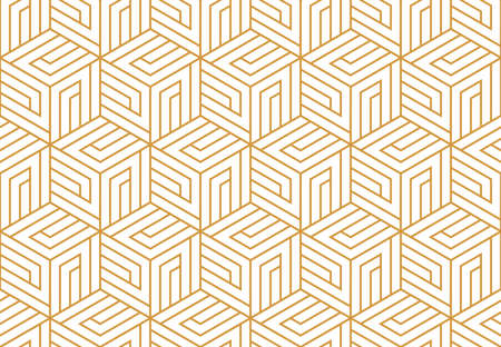 Abstract geometric pattern with stripes, lines. Seamless vector background. White and gold ornament. Simple lattice graphic design Vettoriali