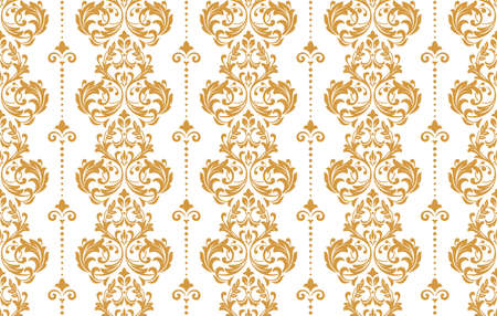 Wallpaper in the style of Baroque. Seamless vector background. White and gold floral ornament. Graphic pattern for fabric, wallpaper, packaging. Ornate Damask flower ornament