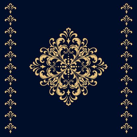 Damask graphic ornament. Floral design element. Gold vector pattern