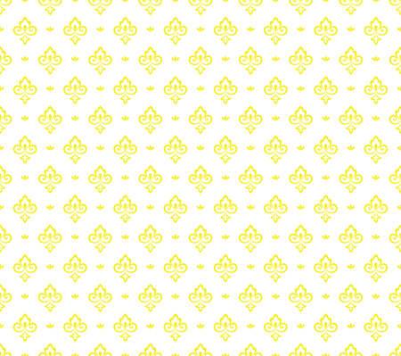 Flower geometric pattern. Seamless vector background. White and yellow ornament