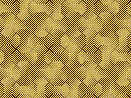 Abstract geometric pattern with stripes, lines. Seamless vector background. Gold and black ornament. Simple lattice graphic design