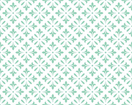 Flower geometric pattern. Seamless vector background. White and green ornament Vectores
