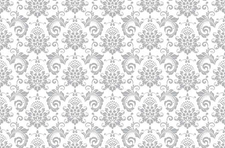 Wallpaper in the style of Baroque. Seamless vector background. White and gray floral ornament. Graphic pattern for fabric, wallpaper, packaging. Ornate Damask flower ornament. Vectores