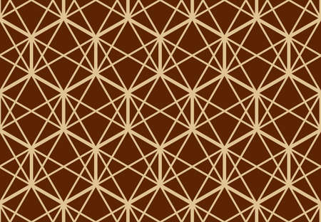 The geometric pattern with lines. Seamless vector background. Gold and dark brown texture. Graphic modern pattern. Simple lattice graphic design