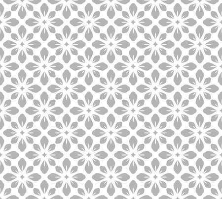 Flower geometric pattern. Seamless vector background. White and gray ornament. Ornament for fabric, wallpaper, packaging. Decorative print.