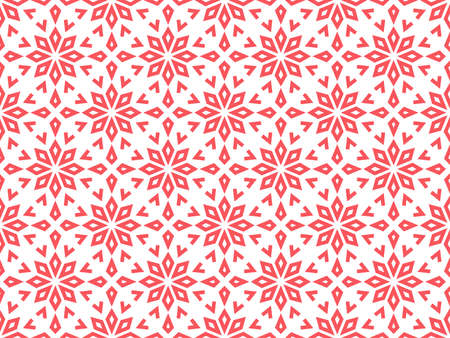 Abstract geometric pattern with lines, snowflakes. A seamless vector background. White and pink texture. Graphic modern pattern Vectores