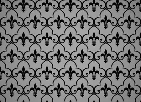 Wallpaper in the style of Baroque. Seamless vector background. Black and gray floral ornament. Graphic pattern for fabric, wallpaper, packaging. Ornate Damask flower ornament Vectores