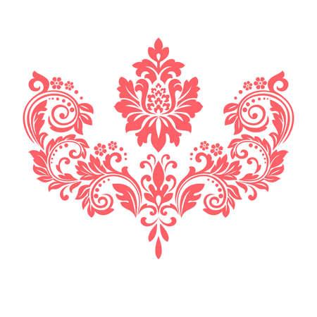 Damask graphic ornament. Floral design element. Pink vector pattern 일러스트