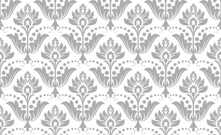 Wallpaper in the style of Baroque. Seamless vector background. White and gray floral ornament. Graphic pattern for fabric, wallpaper, packaging. Ornate Damask flower ornament. 일러스트