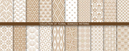Geometric floral set of seamless patterns. Gold and white vector backgrounds. Simple illustrations