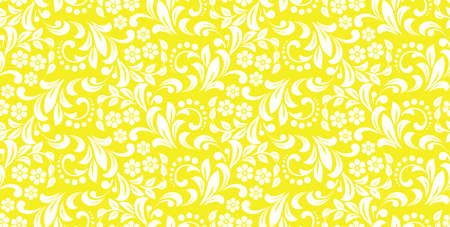 Flower pattern. Seamless white and yellow ornament. Graphic vector background. Ornament for fabric, wallpaper, packaging