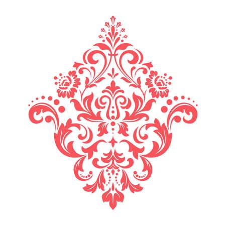 Damask graphic ornament. Floral design element. Pink vector pattern Vectores