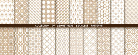 Geometric collection of gold and white patterns. Seamless vector backgrounds. Simple graphics Vectores