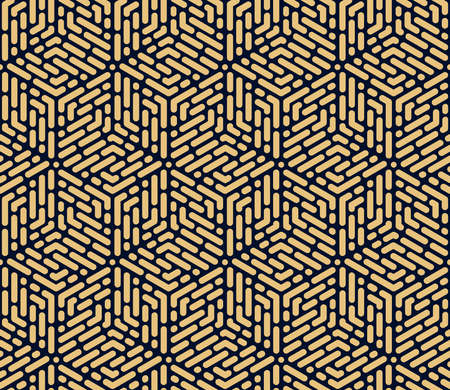 Abstract geometric pattern with stripes, lines. Seamless vector background. Gold and dark blue ornament. Simple lattice graphic design