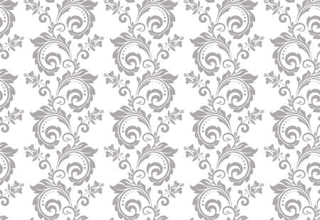 Floral pattern. Vintage wallpaper in the Baroque style. Seamless vector background. White and gray ornament for fabric, wallpaper, packaging. Ornate Damask flower ornament.