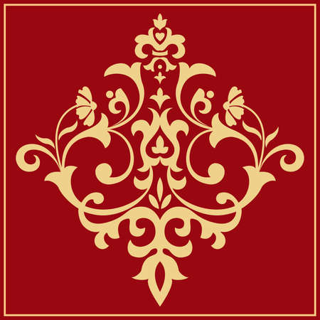 Damask graphic ornament. Floral design element. Gold and red vector pattern