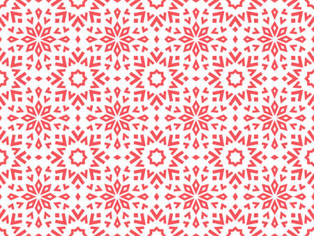 Abstract geometric pattern with lines, snowflakes. A seamless vector background. White and pink texture. Graphic modern pattern