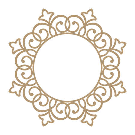 Decorative frame Elegant vector element for design in Eastern style, place for text. Floral beige and white border. Lace illustration for invitations and greeting cards. Vectores