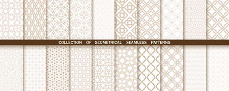 Geometric collection of beige and white patterns. Seamless vector backgrounds. Simple graphics