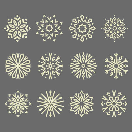 Snowflakes icon collection. Graphic modern gray ornament