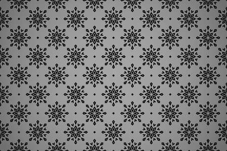 Abstract geometric pattern with lines, snowflakes. A seamless vector background. Black texture. Graphic modern pattern Vectores