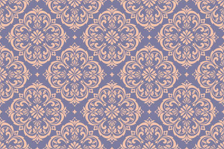 Wallpaper in the style of Baroque. Seamless vector background. Gold and blue floral ornament. Graphic pattern for fabric, wallpaper, packaging. Ornate Damask flower ornament Vectores