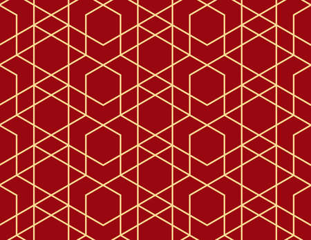 The geometric pattern with lines. Seamless vector background. Gold and red texture. Graphic modern pattern. Simple lattice graphic design